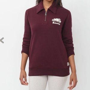 Roots maroon quarter zip sweatshirt